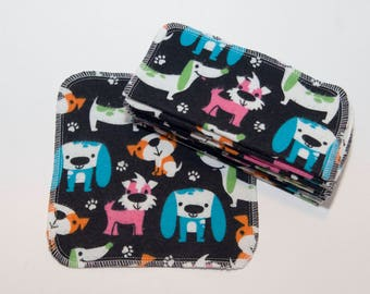 Colorful Dogs Cloth Wipes - Baby Wipes - Flannel Bathroom Wipes- Eco Friendly Napkins - Reusable Wash Cloth - 2 Ply - 10 Count