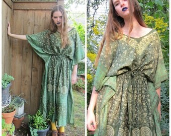 Vintage 1960s 1970s India Silk Green Caftan Dress / 60s 70s Hippie Handmade Muu-Muu Maxi Dress