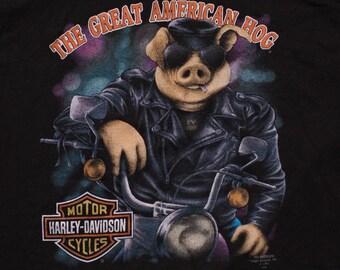 3D Emblem The Great American Hog T-Shirt, Harley-Davidson, Vintage 90s, Rare 1991 Graphic Tee, M, H-D Motorcycle, Blank Back, 50/50