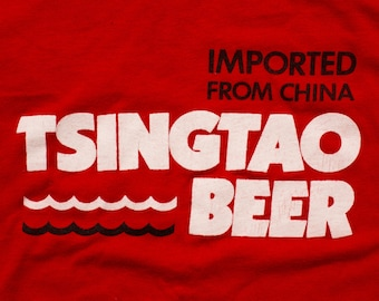 Tsingtao Beer T-Shirt, Imported from China, Vintage 80s, Chinese Alcohol Beverage, Alcoholic Drink, Sneakers 50/50 Graphic Tee