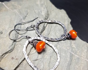 Quirky Asymmetric Lampwork and Sterling Silver Earrings - Burnt Orange
