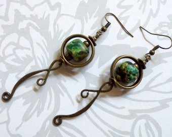Green, Brown and Brass Boho Earrings (3608)