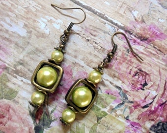 Light Green and Brass Boho Pearl Earrings (3657)