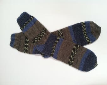 "Hand Knit Soft And Warm Men's Alpaca Socks, Size 11 - 11.5  (11"" length) Warm Men's Socks, Hand Made Socks, Knitted Men's Socks, Large Socks"