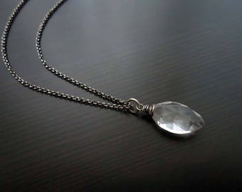 Quartz Necklace, Wire Wrapped, Oxidized, Sterling Silver