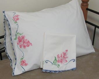 Vintage Hand Embroidered Pink Floral White Cotton Pillow Case Set Pair