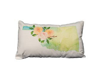 OK Watercolor Floral State Pillow   Cotton Canvas Pillow   Pillow Form Included