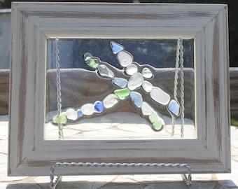 Sea Glass Dragonfly Mosaic Sun Catcher Wall Hanging Beach Glass Art