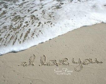 I Love You Written in the Sand Beach Writing  Fine Art Photo