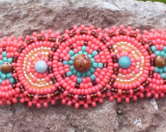 Coral Rosette Beadwork Leather, Native Inspired Beaded Barrette, Circle Rosette Beaded Barrette, Natural Stone Turquoise Beaded, Hair Clip