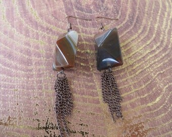 Large Geometric Agate Earrings With Dangling Copper Toned Chain Tassels