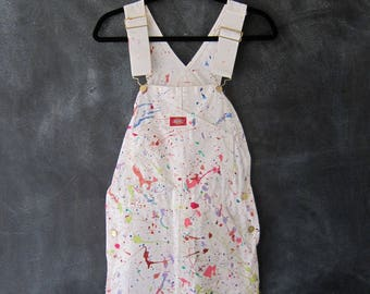80s 90s Splatter Puff Paint Overalls White Denim Wearable Art Painters Coveralls Jumper Onesie Ladies Size XS/S