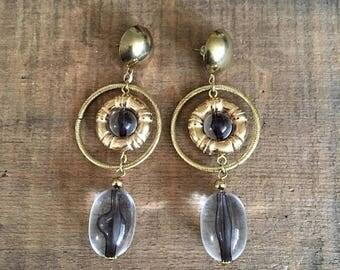 SALE 80s 90s Statement Pierced Earrings Chandeliers Wearable Art Abstract Avant Garde Lightweight Large Earrings