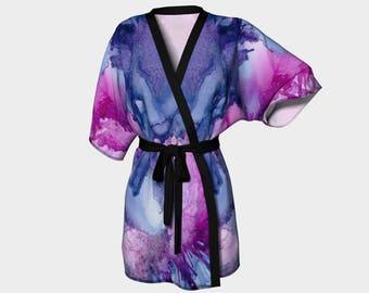 Kimono Robe, Dressing Gown, Lounge Wear, Pink, Purple, Abstract, Boho, Catherine Pattern