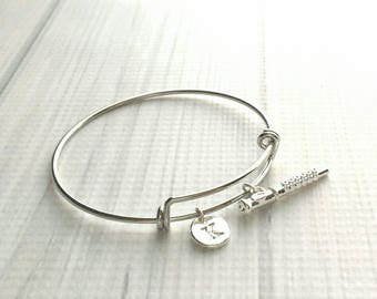Flute Bangle Bracelet - silver adjustable personalized letter initial monogram charm - marching concert band flautist gift flutist piccolo
