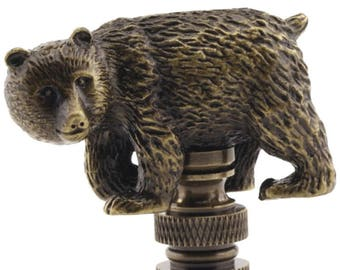 LAMP FINIAL walking bear antique brass