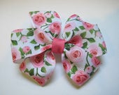 Rose Hairbow, Pink Roses, Girls Bow, Back to School, Toddler Hairbow, Pink and Green flowers, Pinwheel Hairbow