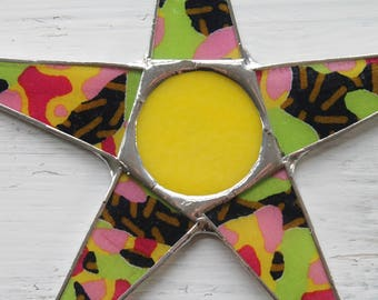 Cheer Star- lemon yellow, lime green, pink, fuschia, gold, and black 10 inch lacquered fabric under glass