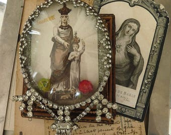 Vintage French Saint Anne & Virgin Mary Relic, by RusticGypsyCreations