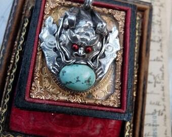 Vintage Dragon Gargoyle Pendant, a Talisman for the Alchemist, offered by RusticGypsyCreations