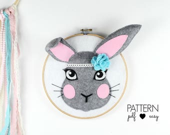 Bunny Baby Nursery Decor Art Pattern, Boho Bunny Nursery, Bunny Pattern, Faux Taxidermy, Woodland Nursery, Felt Pattern, Hoop