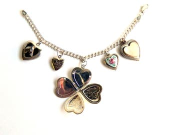 Vintage Sterling Silver Puffy Heart Locket Charm Bracelet - Guilloche - Horse - Cherub Angel - MOP - Etched - Double Chain
