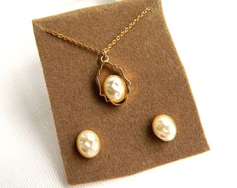 """Vintage Rolled Gold White Baroque Pearl Pendant Necklace & Earring Set - Creamy Glass - 16"""" Rolo Chain - Original Display Card - Signed NS"""