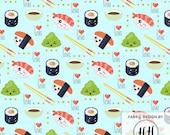 Kawaii Sushi Fabric By The Yard / Cute Fabric / Childrens Fabric / Kids Crafts / I Love Sushi Fabric Print in Yards & Fat Quarter