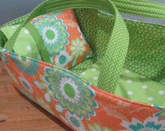 Doll Carrier, Will Fit Bitty Baby and Stella Dolls,Flowers, Green  Lining, 16 Inches Long, Doll basket