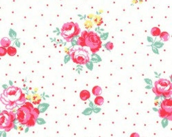 Floral , cherries and dots in white from the Flower Sugar Berry Fall 2017 fabric collection by Lecien of Japan - 31514L-10