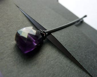 Amethyst Faceted Cube Bobby Pin - 8mm square - Gemstone Bobby Pin