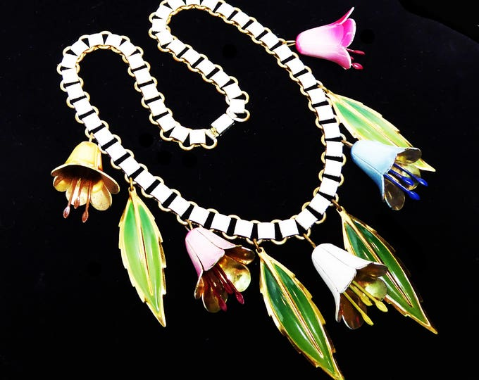Dangling Bell Flowers & Leaves Necklace, White Enamel Book Chain, Multi colored Pastels, Vintage 1930's 1940's Choker Length Floral Jewelry