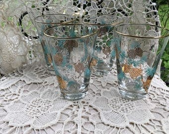 Vintage Glasses Set of 4 Libbey Gold Pinecone and Aqua Pine Needle Pattern Mid Century Glassware Vintage Cocktail Lowball Atomic
