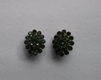 Emerald Green rhinestone costume jewelry earrings