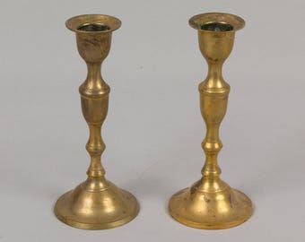 Two Brass Candle Sticks, Round base Brass candle holders, Lathe turned candle sticks Yellow brass 6 inches tall
