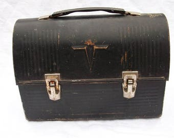Vintage Black Plastic Handle Metal Lunch Box Lunch Pail Industrial Thermos