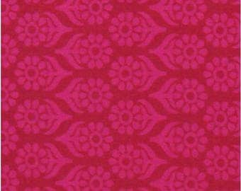 CIJ SALE Floral Print Cotton Fabric - Pink Floral Motifs on Red - 1 Yard - ctjp208