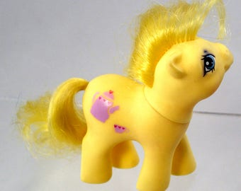 My Little Pony Baby Crumpet Rare Pastel Yellow MLP Babies G1 Vintage Pastel Kawaii Fairy Kei Tea Time Pot Cup