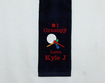Golf Towel, Grandparent Gift, Custom Personalize With Kids Name, Nina, Grampy, Pappy, Pops, Gramps, No Shipping Fee, Ships TODAY, AGFT 1200