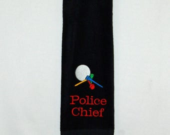 Golf Towel, Ball, Tees, Custom Personalize With Name, Police Fire Chief, Minister, Boss,  No Shipping Fee, Ships Today,  AGFT 1206