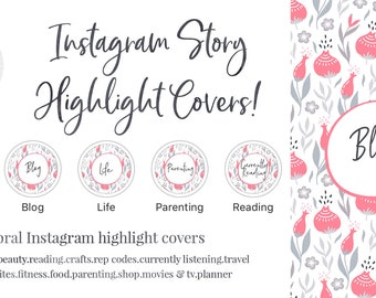 Instagram Story Highlight Cover - Set of 16 - Floral- Pink - Bookstagram - Food Bloggers - Lifestyle Bloggers