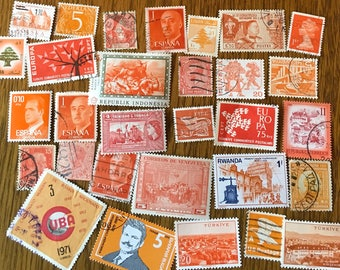 30 Worldwide Orange Used Postage Stamps for paper crafting, collage, cards, scrapbooking, scrapbooks, decoupage, stamp collecting 3b