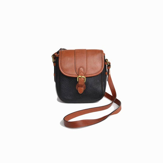 Vintage 90s Pebbled Leather Saddle Bag in Black & Brown / Small Crossbody Bag