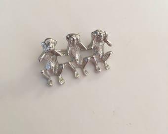 Three Wise Monkeys Small Silver Pin Speak See Hear No Evil Figural Brooch Animal Jewelry