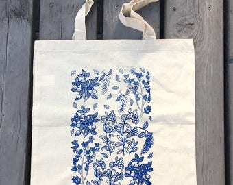 Tote Bag With Berries, Cotton Tote, Garden Tote Bag, Handmade Tote, Forest