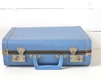Blue suitcase Vintage suitcase