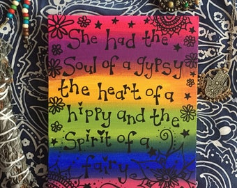 She had the soul of a gypsy rainbow positivity word art canvas