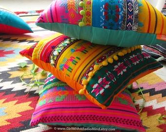 3 mexican pillows set colorful vibrant aztec cushion cover bohemian boho home decor