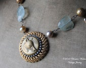 Fox, Stones, And Pearls--Antique Fox Button Vintage Brooch Freshwater Pearl Aquamarine Gemstone NECKLACE