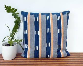 "Indigo Pillow Cover - West African Indigo - Ivory Coast - Ikat - Hand Woven - 18"" x 18"" - Housewarming - Accent Pillow- Down Pillow Optional"